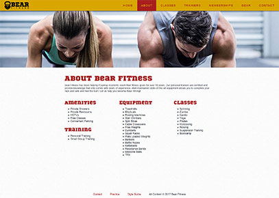 About page from the Bear Fitness website