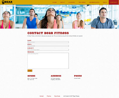 Contact page from the Bear Fitness website