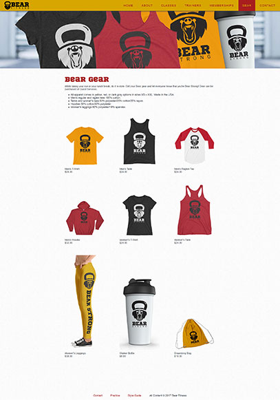 Gear page from the Bear Fitness website