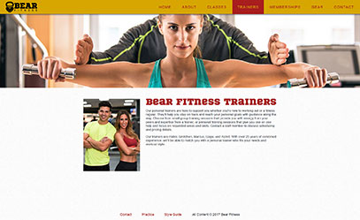 Trainers page from the Bear Fitness website